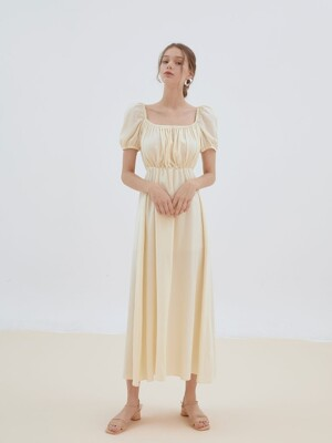 vanilla  shirring long dress [cream]