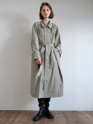 19FW GATHERED OVER-SIZED COAT (KHAKI)