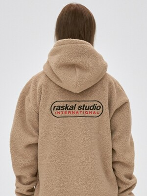 FLEECE ROUND ITN HOODIE ZIP-UP / beige