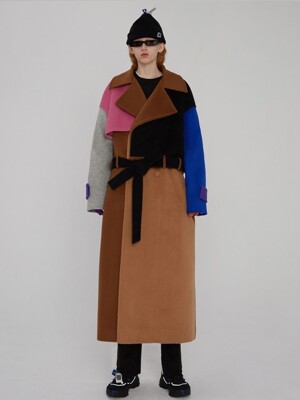 Robe wool trench coat Brown