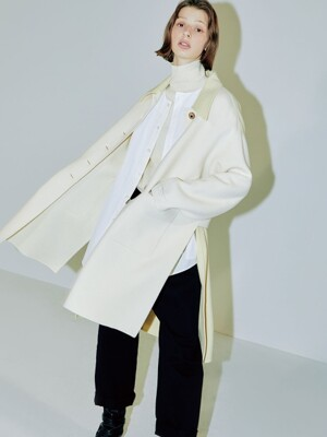 Clo color twist handmade coat creamray