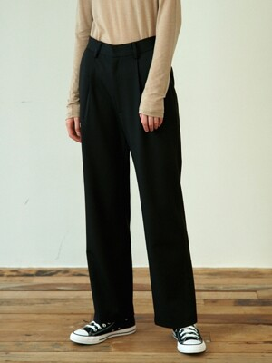 back slit pants (black)