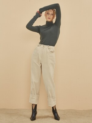 CORDUROY BAND WIDE PANTS CREAM