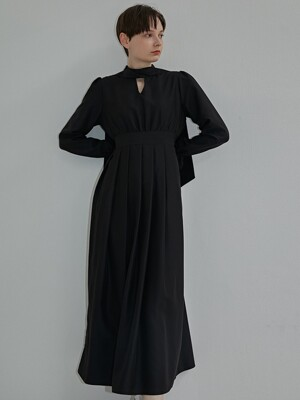 SCARF NECK ONE-PIECE BLACK