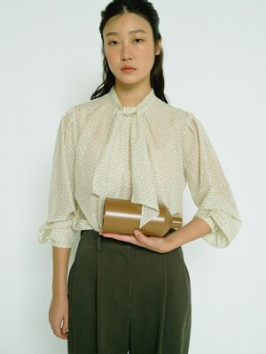 PALE BEIGE SILK COTTON TIE NECK BLOUSE