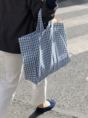 check square bag_blue