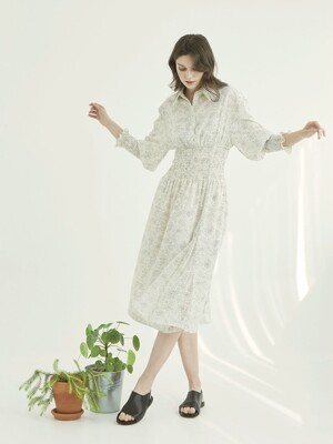 Smocked Long  Shirt Dress _ Ivory Dot