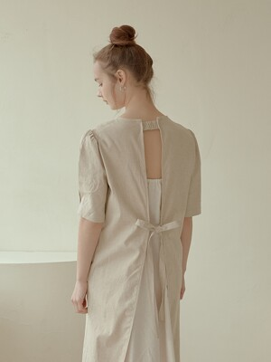 2-way linen long dress[beige]