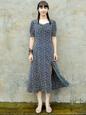 Retro Flower Navy Dress