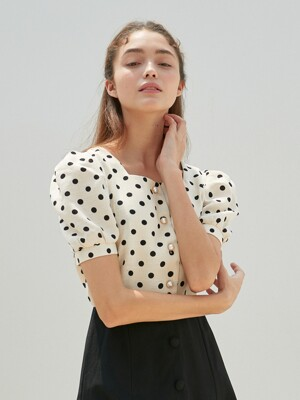 AMR1072 square neck dot blouse (ivory)
