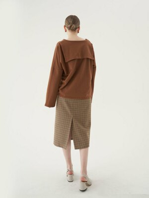 20' Fall_Beige Check H-Line Skirt