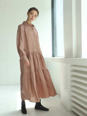 Dress P Shirring Ripe Plum