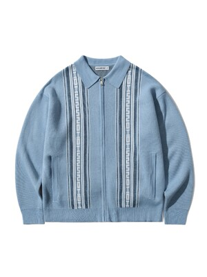 POLO NECK ZIPUP CARDIGAN [SKY BLUE]