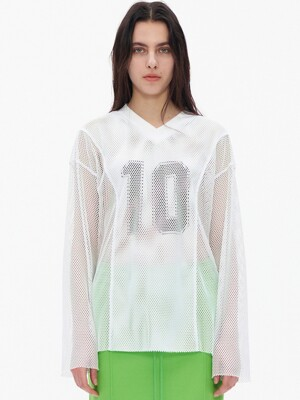 MESH NUMBER PRINT T-SHIRT, WHITE