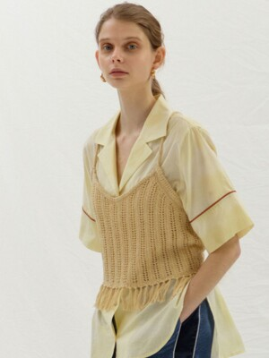 BACK POINT SLEEVELESS KNIT - CREAM