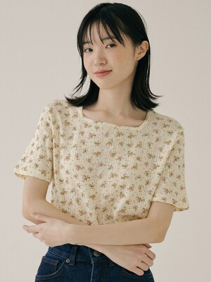 KST EYELET PATTERN T-SHIRT YELLOW