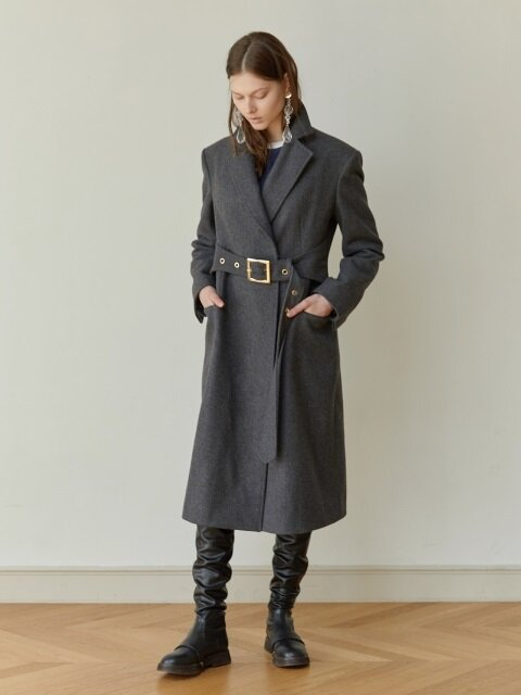 18FW BELTED WOOL COAT (GRAY)
