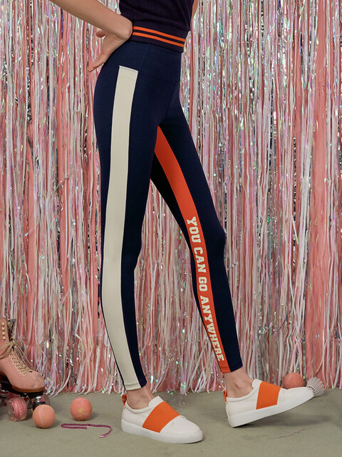 (LS-18554) SIDE COLOR LINE LEGGINGS NAVY