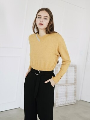 COLOR BLOCK PULLOVER MURSTARD