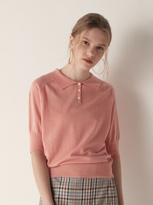 Short sleeve collar knit top - Pink