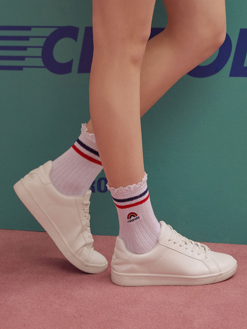 (SC-19301) RAINBOW FRILL SOCKS NAVY