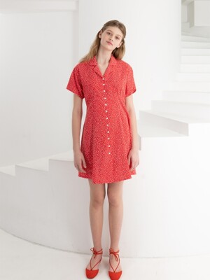 FRONT BUTTON MINI DRESS . RED