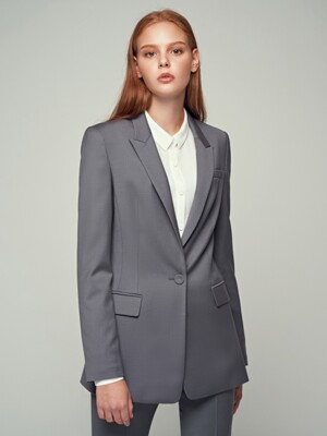 WOOL SINGLE BREASTED JACKET-GRAY