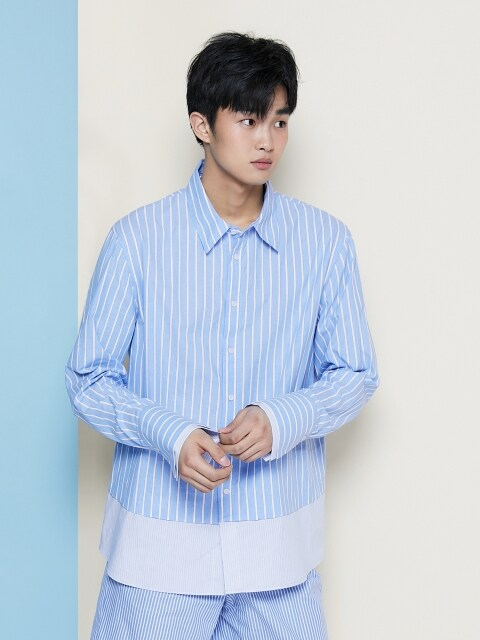 19SS STRIPE LAYERED SHIRT BLUE
