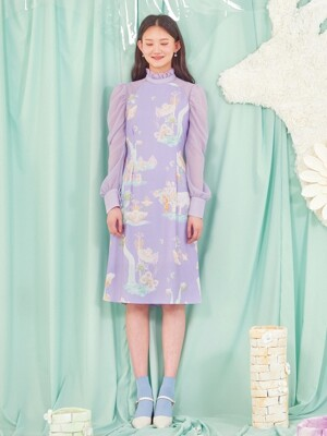 MURMURING WAVE DRESS-LAVENDER