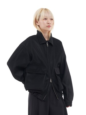 OVERSIZED LEATHER BOMBER JACKET _ BLACK