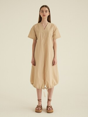 V-neck String Dress [Beige]