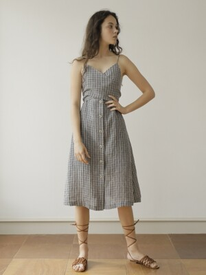 19SS LINEN WRAP DRESS /CHECK