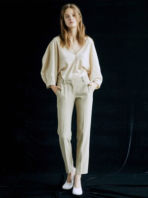 [Drama Signature] Slim Straight Trousers_D.BEIGE