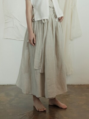 린넨 랩 오버스커트 : Linen wrap overskirt [2colors]