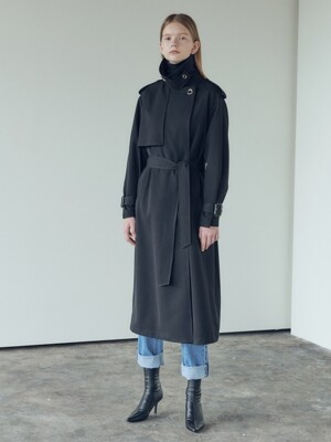 19FN volume trench coat [BK]