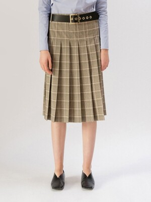 19FW BELT PLEATED MIDI SKIRT (BROWN CHECK)