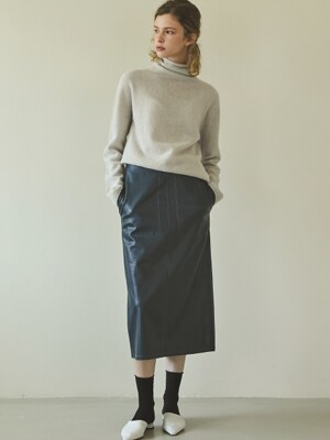 stitch leather skirt (blue)