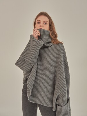 OVERSIZE LAMBSWOOL KNIT [GREY]