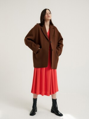 Oversize half jacket_Nut brown