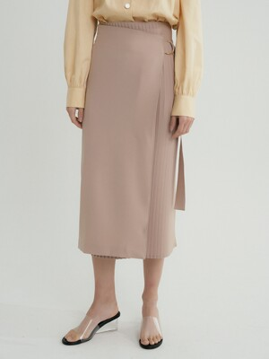 comos'311 pleats wrap belt skirt (beige)