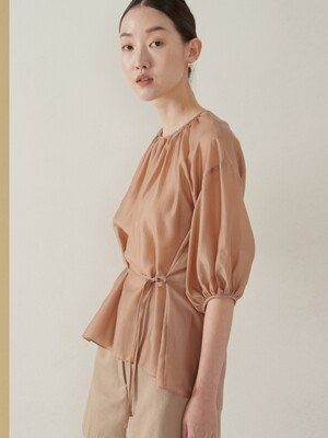 Tencel back point blouse_pink beige