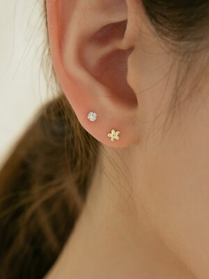 14k gold mini cutting flower earrings (14K 골드)