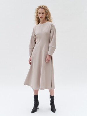 TTF STITCH LINE VOLUME DRESS BEIGE