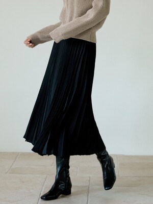 Cherish pleats long skirt[black]