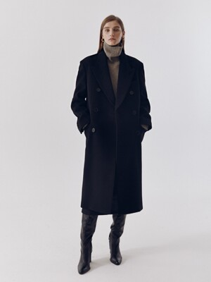 UNISEX NEW TAILORED DOUBLE-BREASTED CASHMERE COAT BLACK_UDCO0F115BK