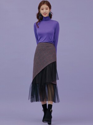 WOOL CHECK FRILL SKIRT