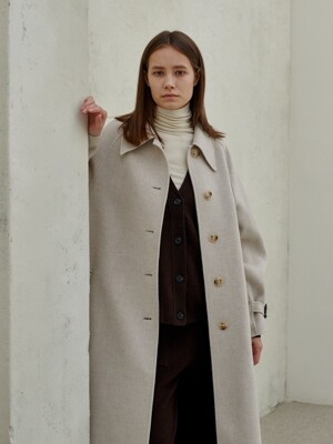 merino wool100 handmade single coat_cream-beige