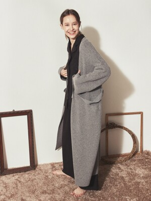 CASHMERE KNIT ROBE COAT_Grey(woman)