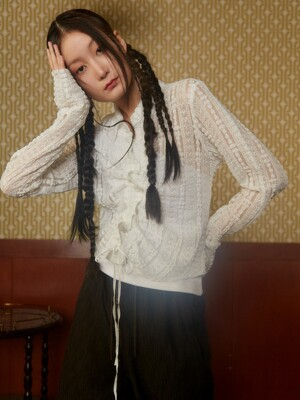 Shirring Lace Blouse / White