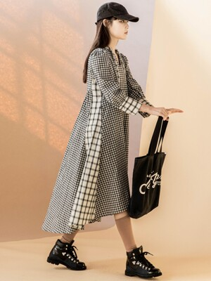 Puff Sleeve Between Check Dress